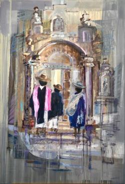 Ernest Hiltenbrand Anlass ' Kirchgang zu Otavalo 2017 oil on canvas 70 x 100